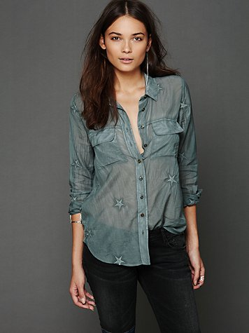 Free People Star Embroidered Buttondown
