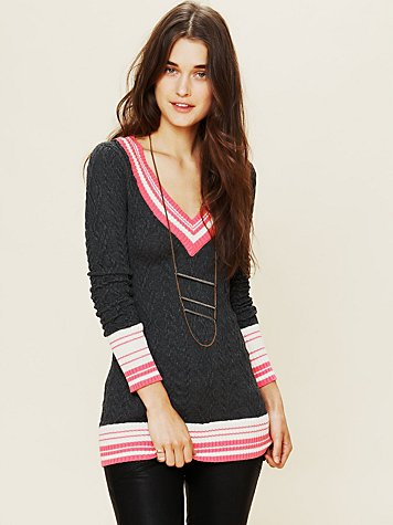 Free People Collegiate V-Neck Tunic