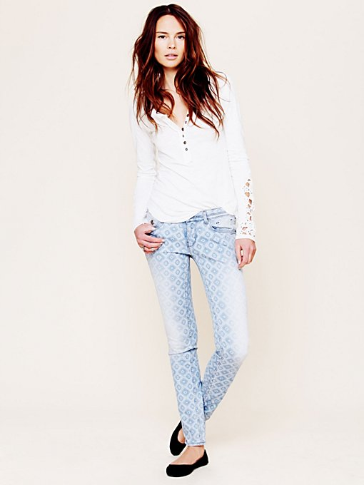 Maison Scotch Geo Print Skinny Jean in designer-brand-clothing