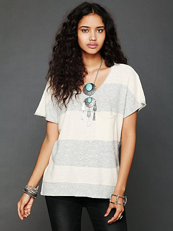Free People Striped Short Sleeve Sweater