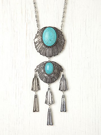 Free People Metal Stone Fringe Necklace