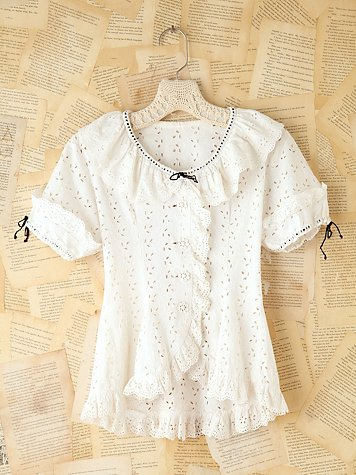 Free People Vintage Eyelet Short Sleeve Blouse