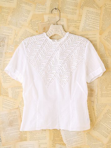 Free People Vintage Eyelet and Lace Top