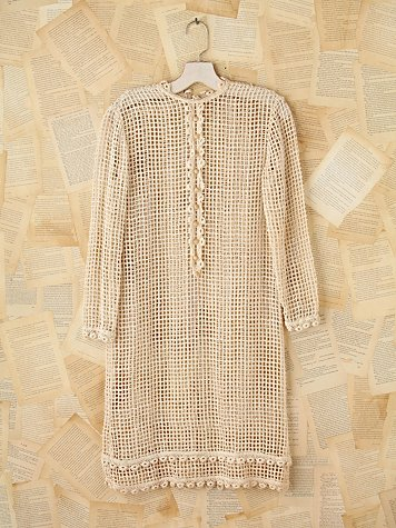 Vintage Button Front Crochet Dress