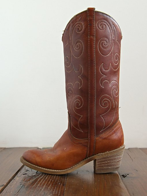 Free People Vintage Brown Leather Western Boots in vintage-shoes
