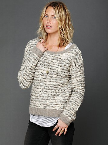 Free People Comes in Waves Slouchy Pullover