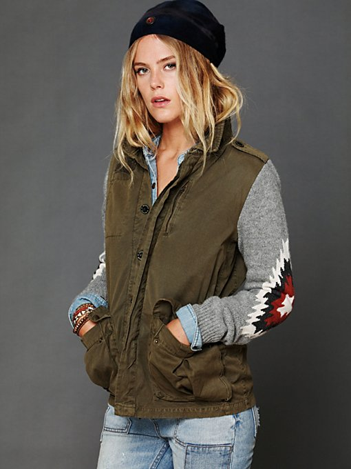 Cargo Jacket with Sweater Sleeves
