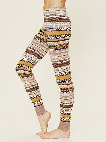Free People Patterned Sweater Legging at Free People Clothing Boutique :  tan yellow knit legging fall