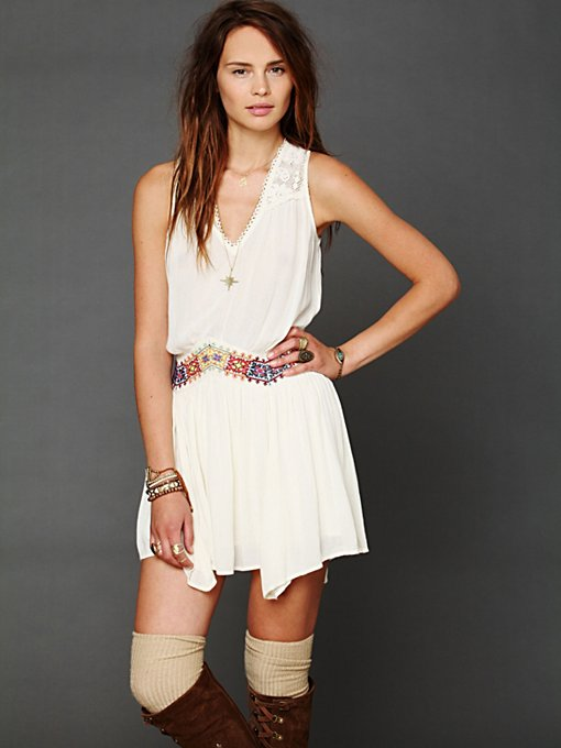 Free People Ethnic Embroidered Waist Dress in Beach-Dresses