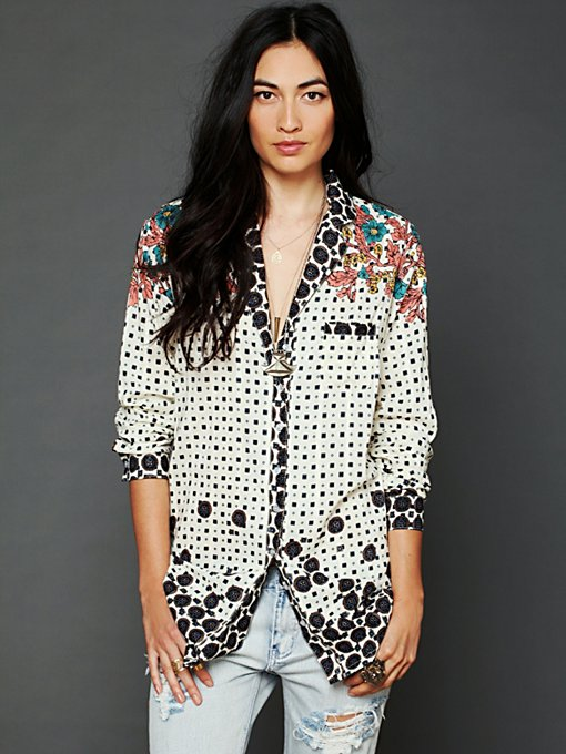 Free People Ethnic Diamonds Buttondown in Loungewear