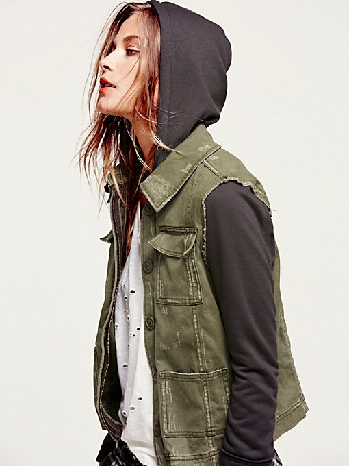 Knit Hooded Twill Jacket in jackets-2