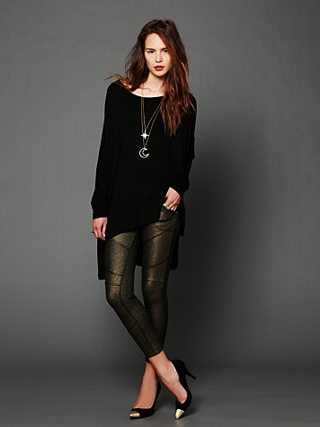 Free People Foil Seamed Knit Legging