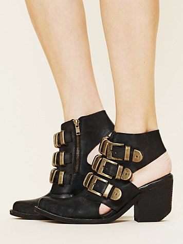Jeffrey Campbell Tripoli Buckle Boot at Free People Clothing Boutique :  leather boots jeffrey campbell ankle boots boots