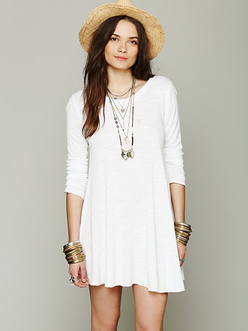FP Beach Long Sleeve Swing Dress in Shift-Dresses