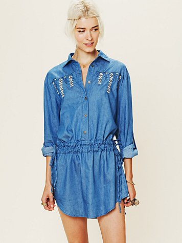 Artisan de Luxe Embroidered Denim Dress