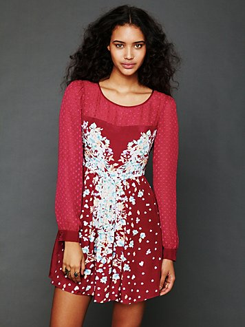 Free People Printed Fit and Flare Dress