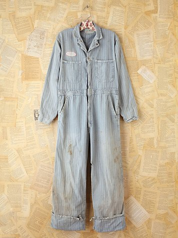 Free People Vintage Striped Denim Jumpsuit