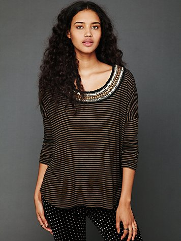 Free People Stripe Boxy Embroidered Long Sleeve Tee