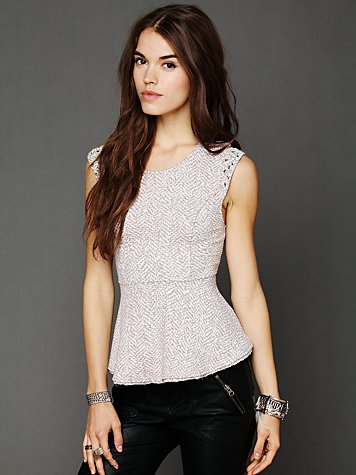 Free People Awaken Shimmer Peplum Top