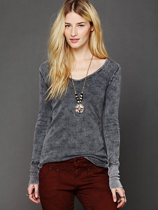 Free People We The Free Vintage Printed Thermal in knit-tops