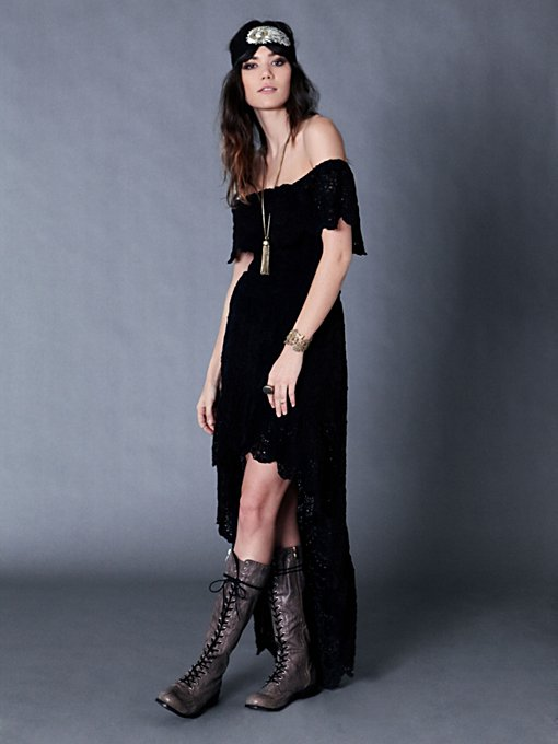 Nightcap Flourish of Lace Maxi in black-maxi-dresses