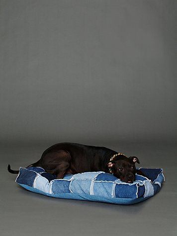 All Paws Natural Patched Denim Dog Bed
