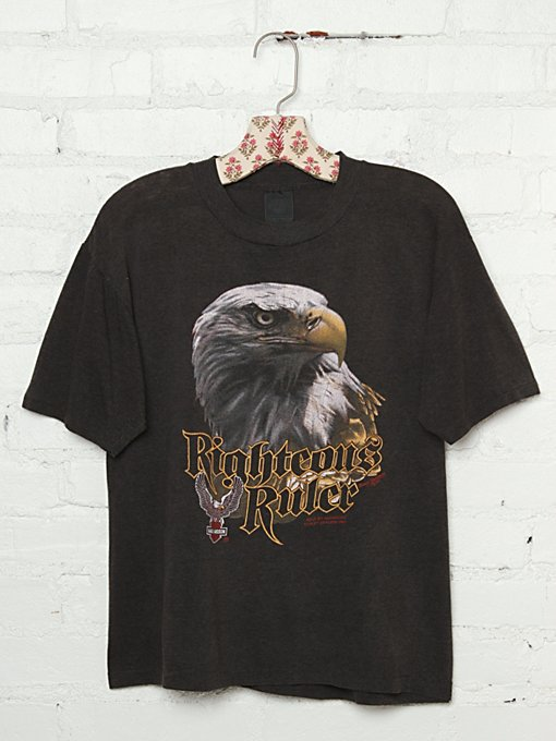 Free People Vintage Harley-Davidson Righteous Ruler Graphic Tee in Vintage-Tops