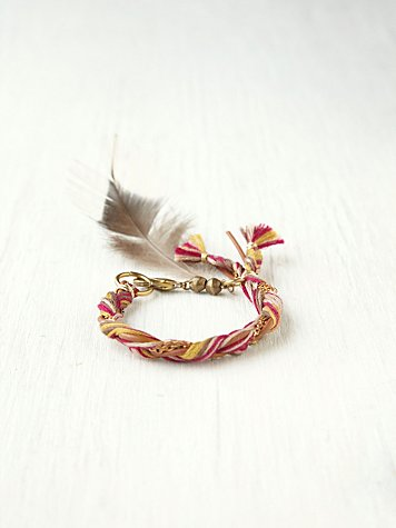 Friends of Native Chain Braided Feather Bracelet