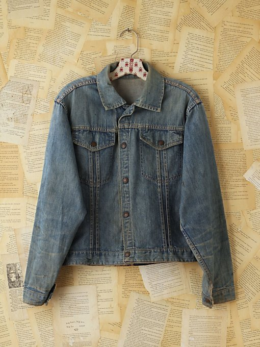 Free People Vintage Light Blue Denim Jacket in vintage-jeans