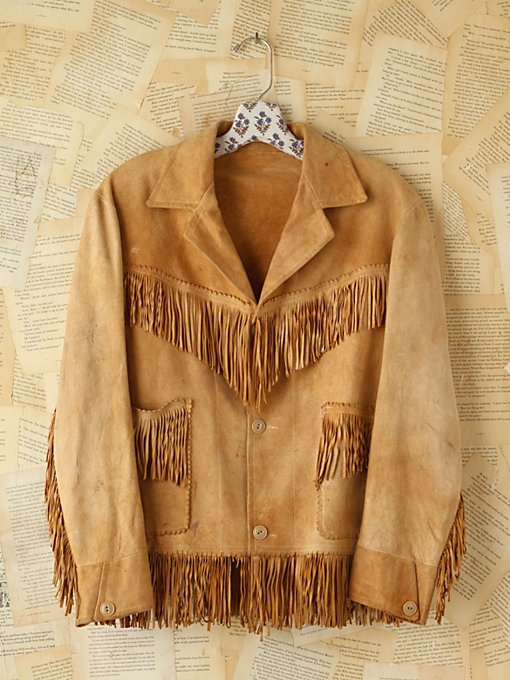 Free People Vintage Suede Fringe Jacket in vintage-jackets
