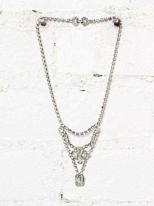 Free People Vintage 1980s Rhinestone Embellished Necklace  in Vintage-Jewelry