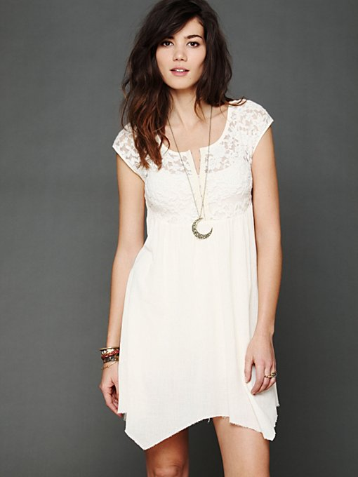Free People Brushed Lace and Gauze Top in Loungewear