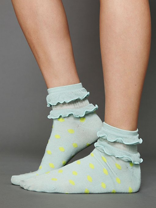 Ruffle Dot Ankle Sock in accessories-legwear-ankle-socks