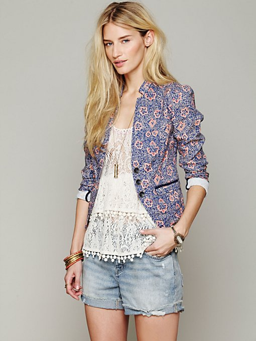 Free People Printed Blazer in lightweight-jackets