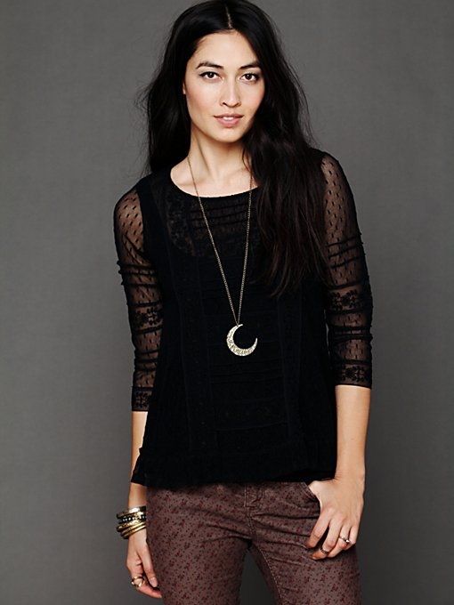 Free People Victoria's Lace Top in knit-tops