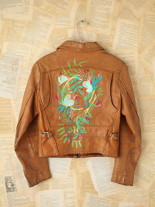 Free People Vintage Lizzy Janssen Hand-Painted Leather Jacket in vintage-jackets