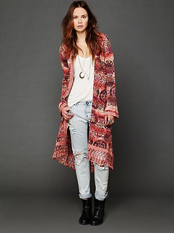 Free People Fresh Florals Fringe Cardigan