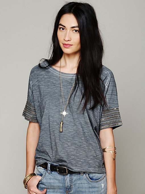 Free People We The Free Band of Beads Tee in Oversized-Tees