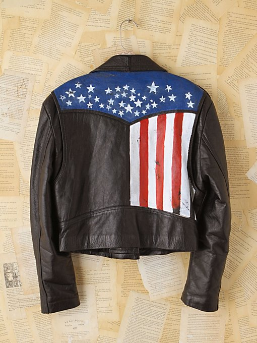 Free People Vintage Carrie Yotter Hand-Painted Leather Jacket in vintage-jackets