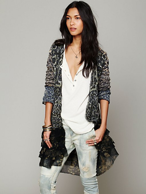 Free People Ruffle Pattern Cardi in knit-sweaters
