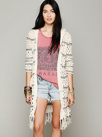Hooded Stripe Fringe Cardi