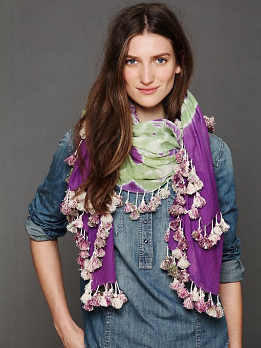 Tie Dye Pom Pom Scarf in beach-scarves