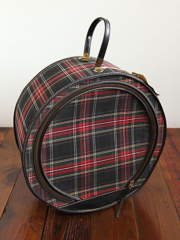 Vintage Round Plaid Suitcase