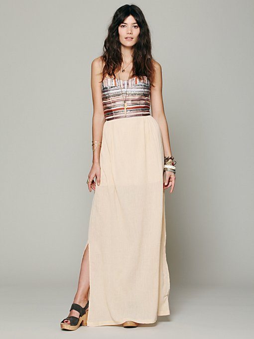 Love Sam Embroidered Stripe Gauze Maxi in strapless-maxi-dresses