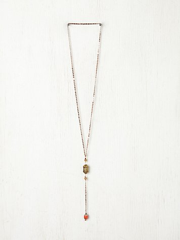 Bead & Metal Rosary Pendant Necklace