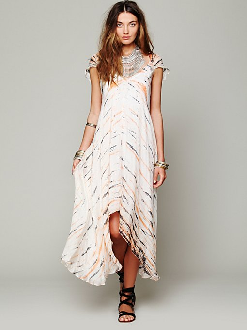 Tie Dye Cap Sleeve Maxi in shop-by-shape