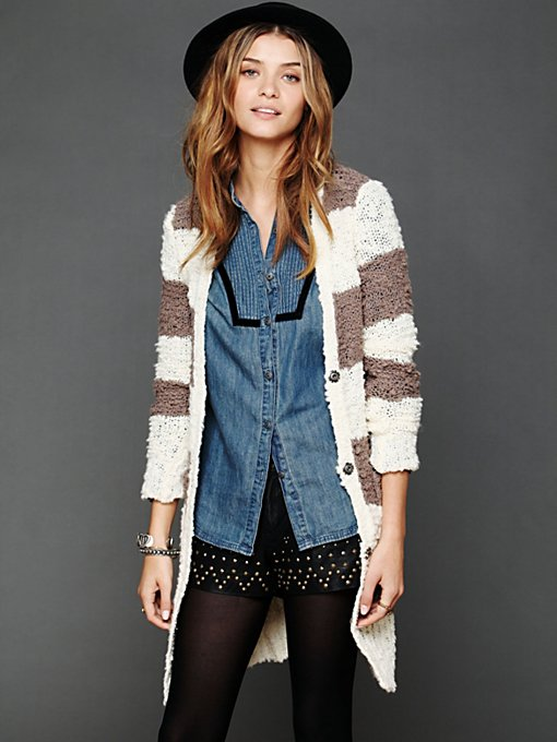 Free People Rugby Stripe Long Cardigan in Sweaters