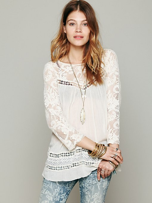 Free People FP ONE Golden Age Top in tunic-sweaters