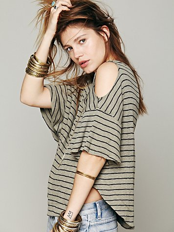 Cold Shoulder Stripe Tee