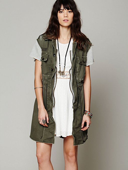 Free People Embroidered Cargo Vest in Jackets